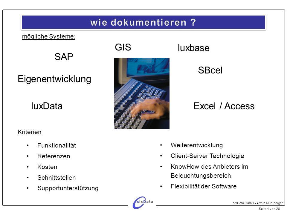 wie dokumentieren GIS luxbase SAP SBcel Eigenentwicklung luxData