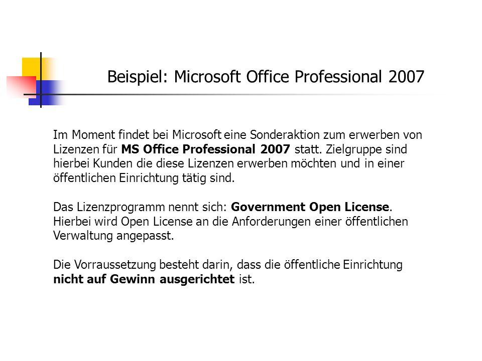 Beispiel: Microsoft Office Professional 2007