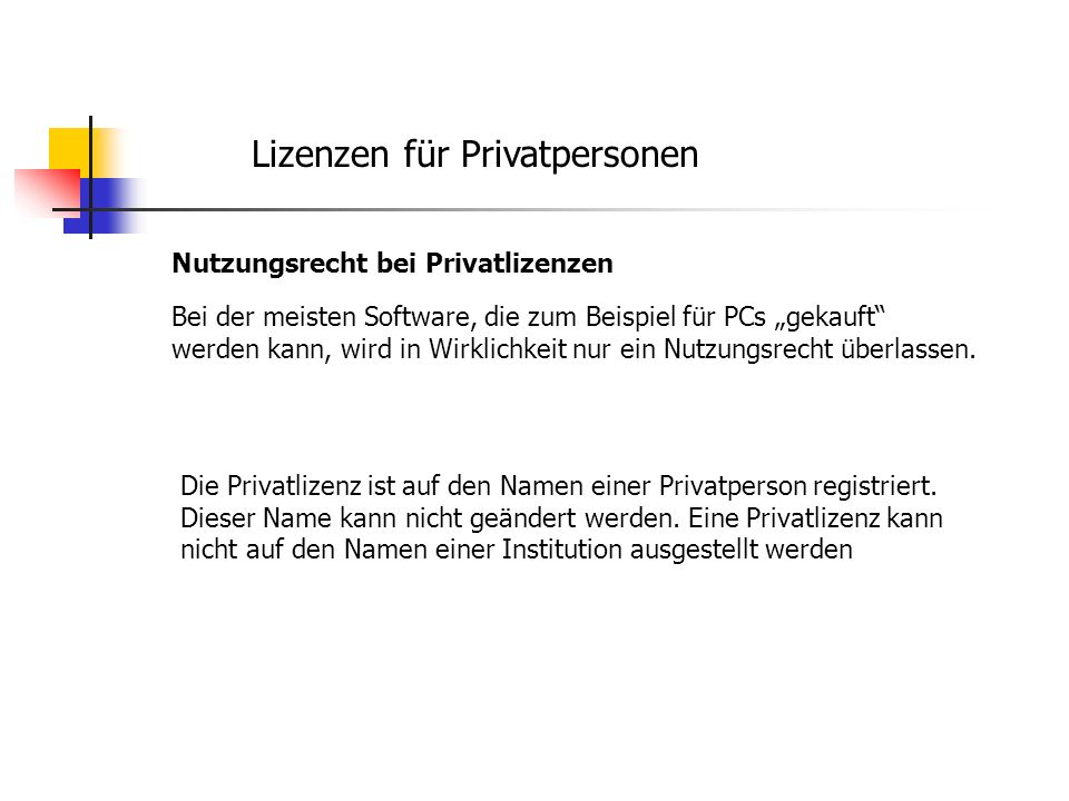 Lizenzen für Privatpersonen