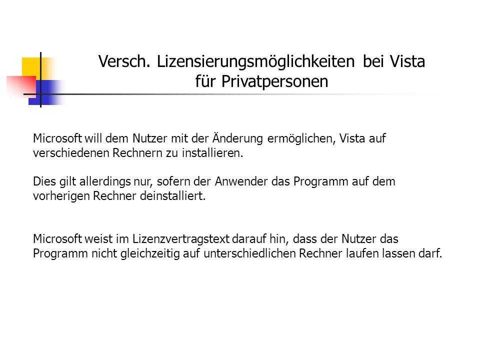 Versch. Lizensierungsmöglichkeiten bei Vista für Privatpersonen