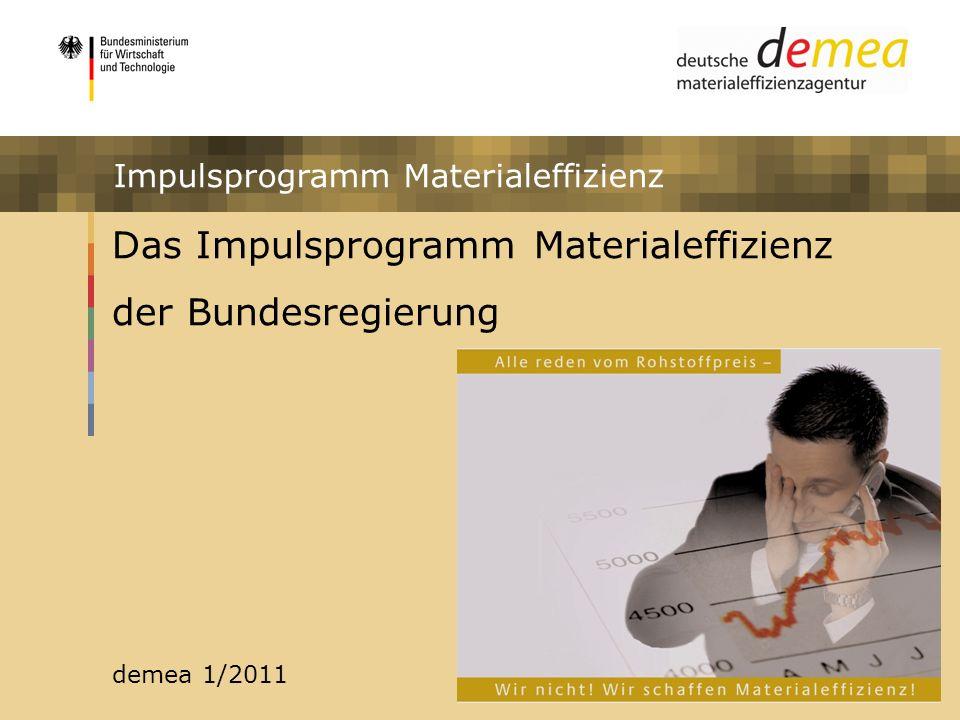 Das Impulsprogramm Materialeffizienz der Bundesregierung