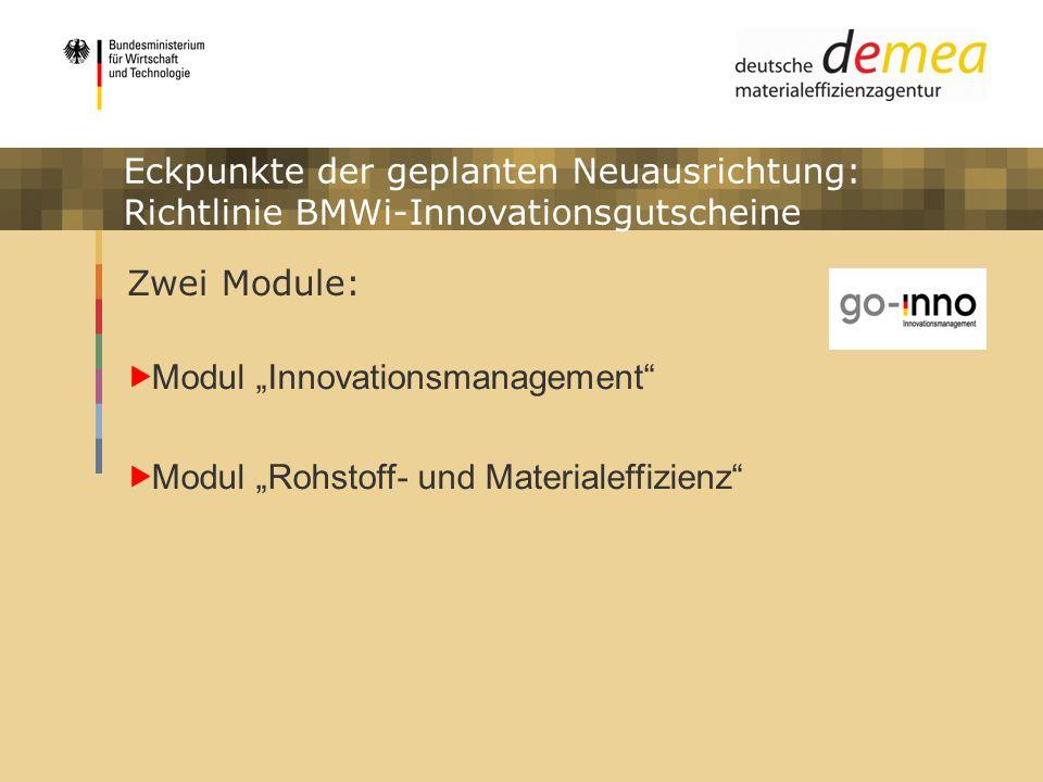 Eckpunkte der geplanten Neuausrichtung: Richtlinie BMWi-Innovationsgutscheine