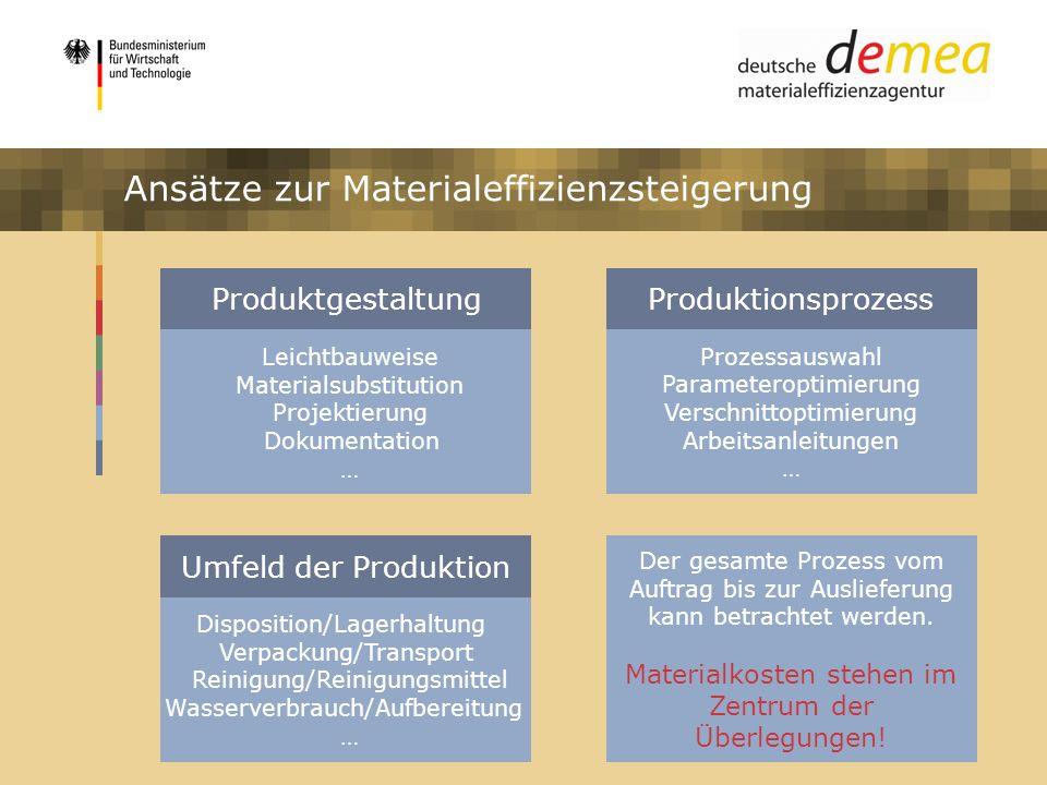 Ansätze zur Materialeffizienzsteigerung