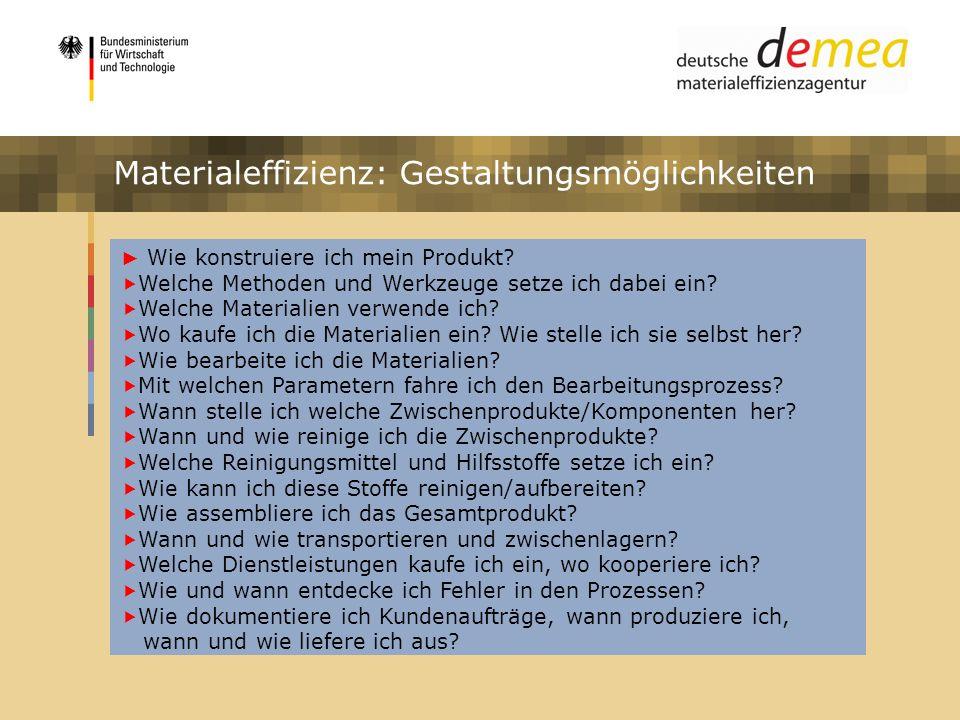 Materialeffizienz: Gestaltungsmöglichkeiten