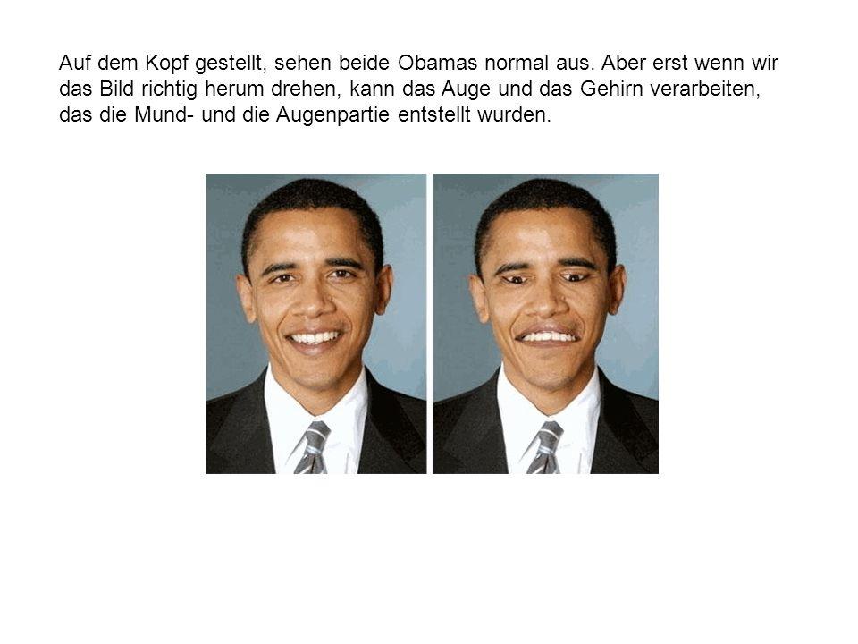Auf dem Kopf gestellt, sehen beide Obamas normal aus