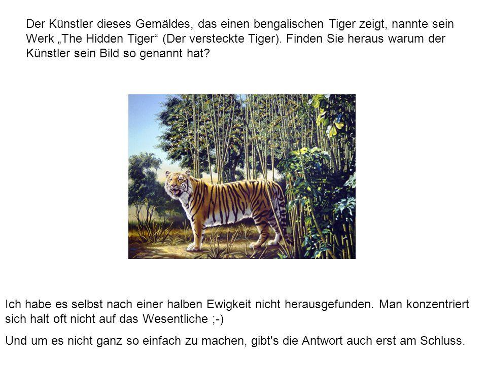 """Der Künstler dieses Gemäldes, das einen bengalischen Tiger zeigt, nannte sein Werk """"The Hidden Tiger (Der versteckte Tiger). Finden Sie heraus warum der Künstler sein Bild so genannt hat"""