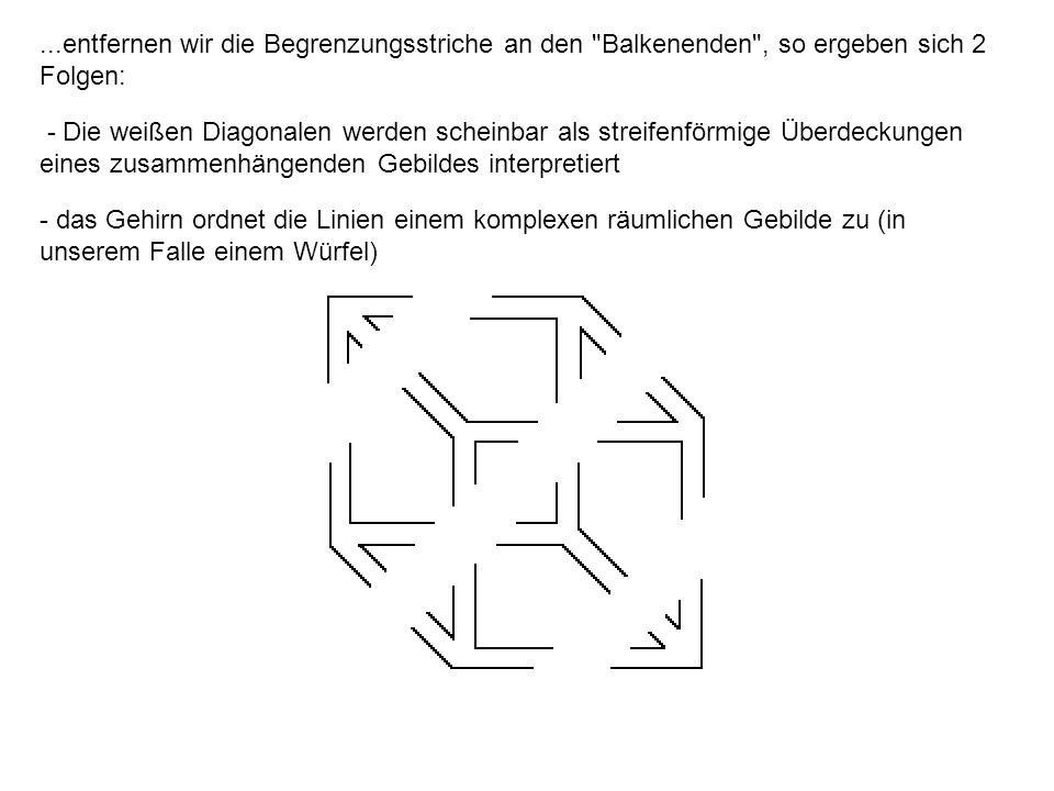 ...entfernen wir die Begrenzungsstriche an den Balkenenden , so ergeben sich 2 Folgen: - Die weißen Diagonalen werden scheinbar als streifenförmige Überdeckungen eines zusammenhängenden Gebildes interpretiert - das Gehirn ordnet die Linien einem komplexen räumlichen Gebilde zu (in unserem Falle einem Würfel)