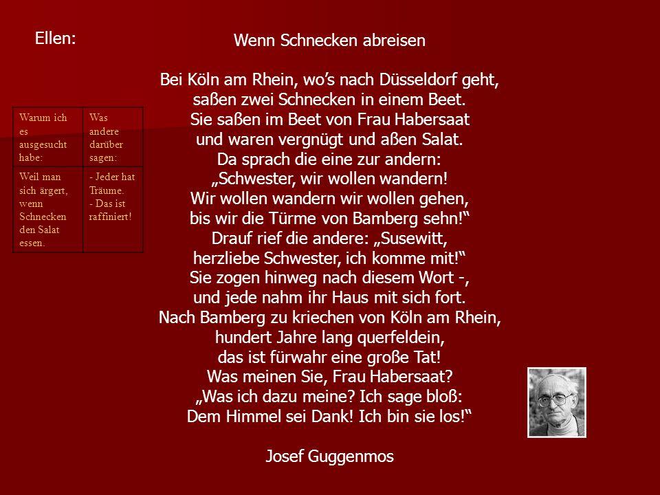 Wenn Schnecken abreisen Bei Köln am Rhein, wo's nach Düsseldorf geht,