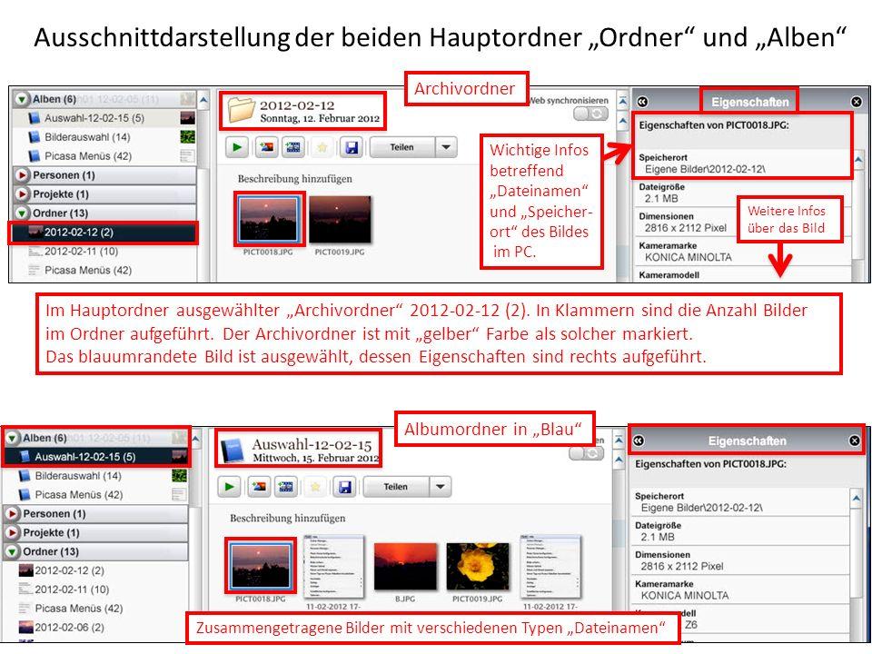 """Ausschnittdarstellung der beiden Hauptordner """"Ordner und """"Alben"""