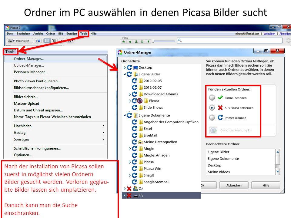 Ordner im PC auswählen in denen Picasa Bilder sucht