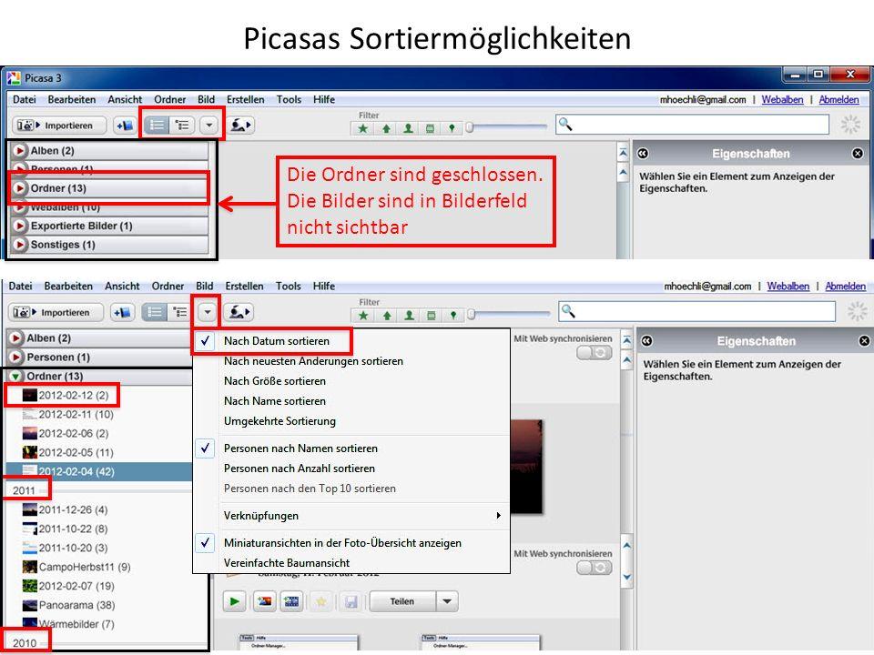 Picasas Sortiermöglichkeiten