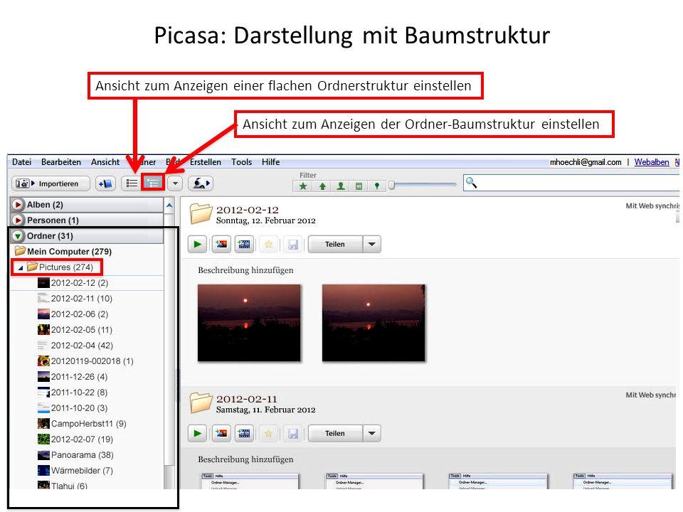 Picasa: Darstellung mit Baumstruktur