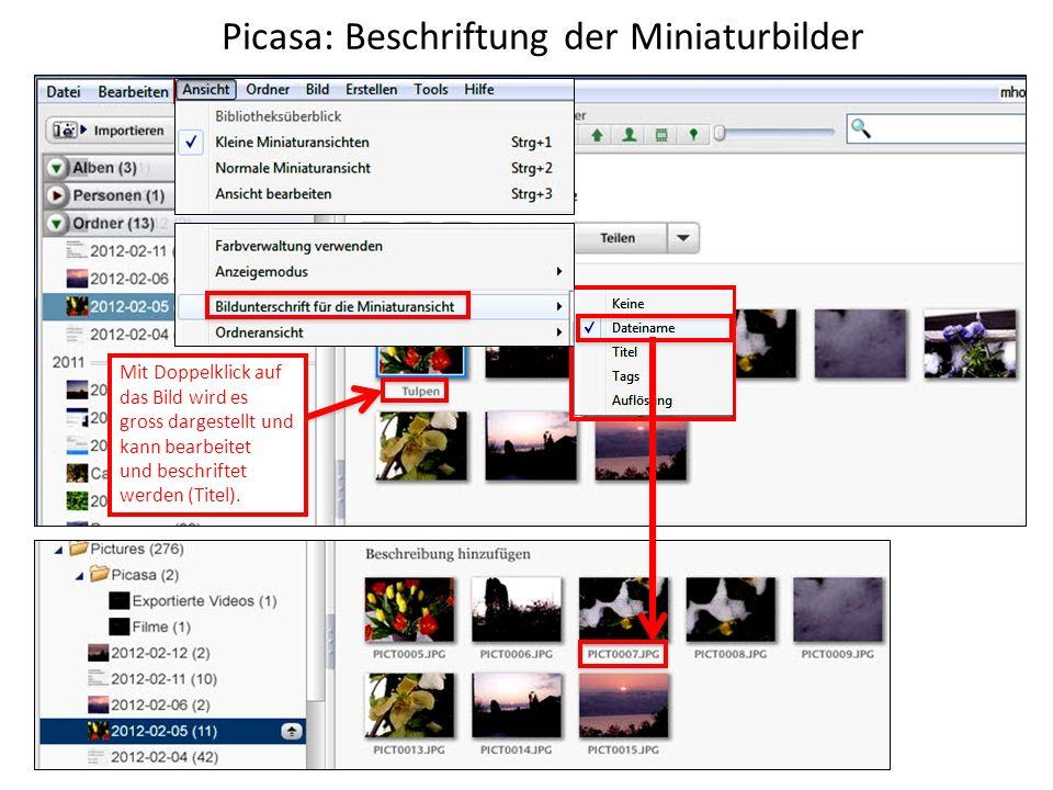 Picasa: Beschriftung der Miniaturbilder