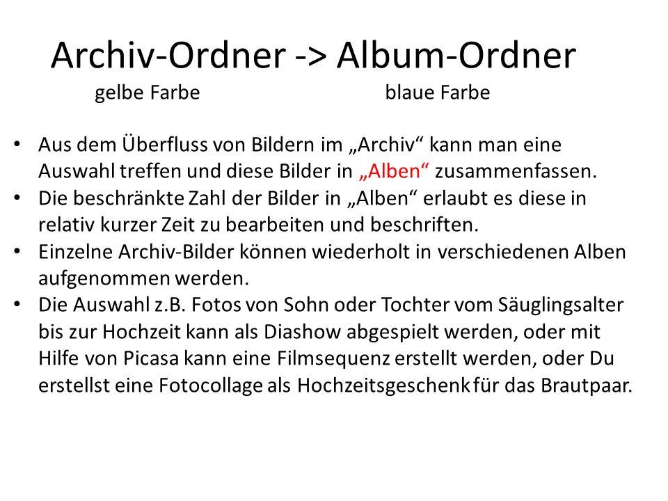 Archiv-Ordner -> Album-Ordner gelbe Farbe blaue Farbe