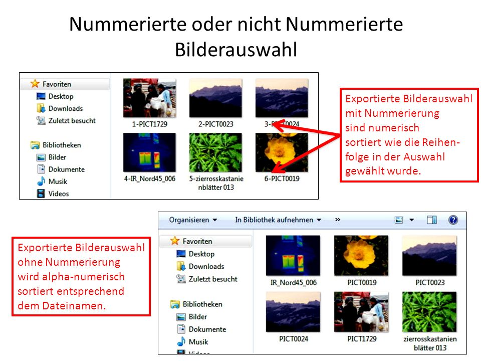 Nummerierte oder nicht Nummerierte Bilderauswahl