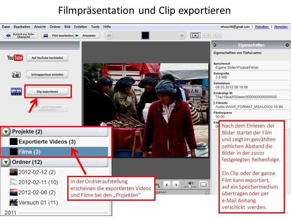 Filmpräsentation und Clip exportieren