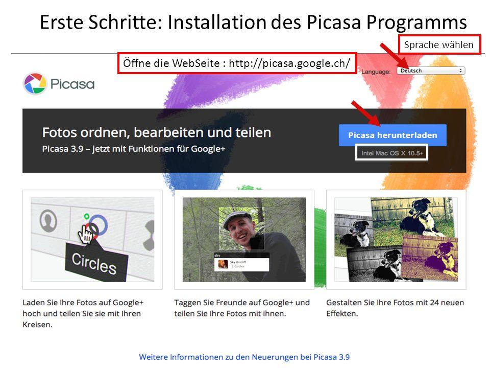 Erste Schritte: Installation des Picasa Programms
