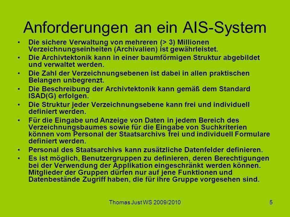 Anforderungen an ein AIS-System