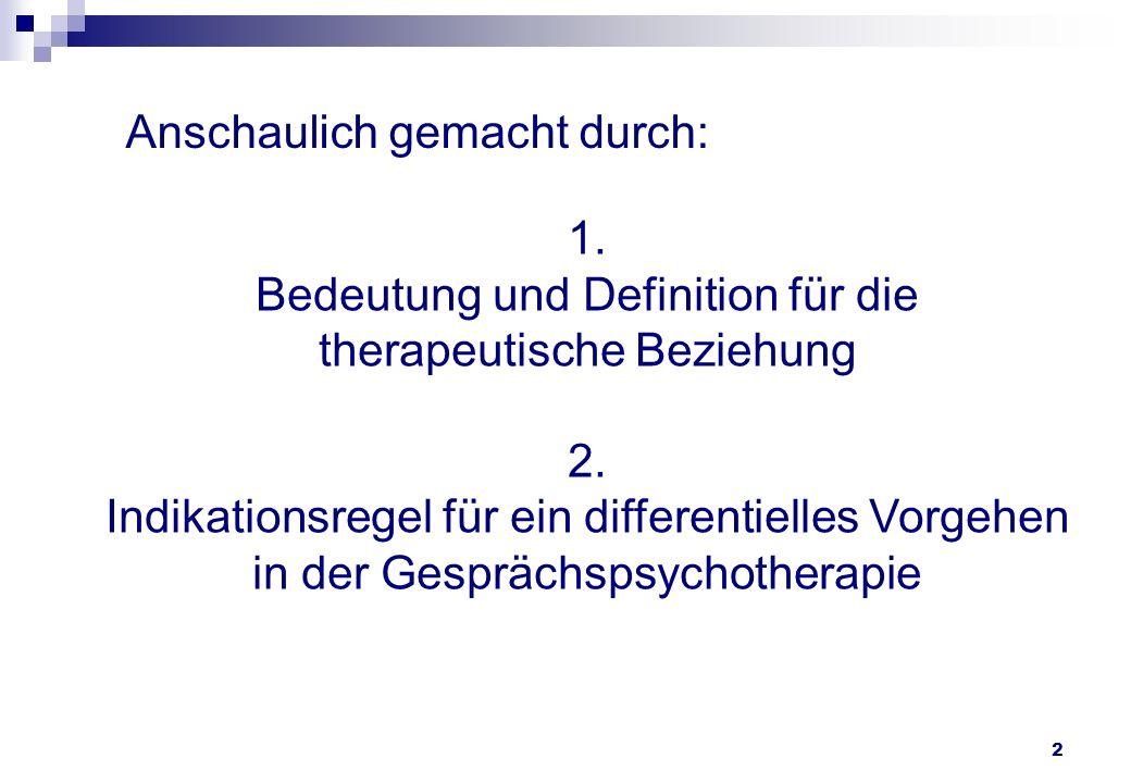 1. Bedeutung und Definition für die therapeutische Beziehung