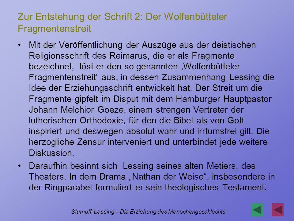 Zur Entstehung der Schrift 2: Der Wolfenbütteler Fragmentenstreit