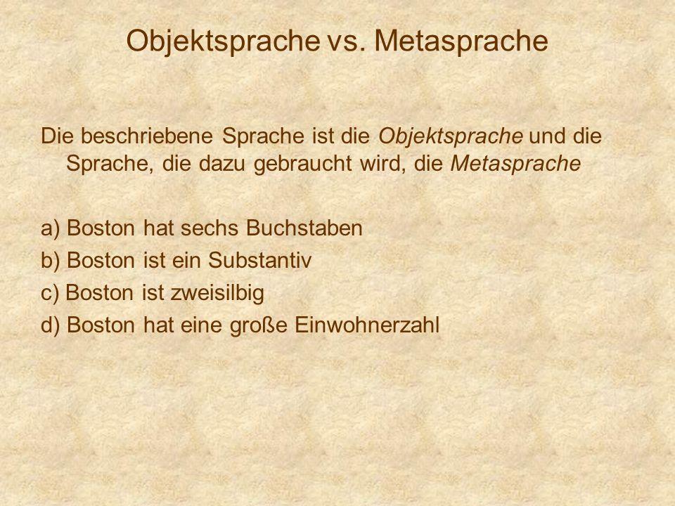 Objektsprache vs. Metasprache