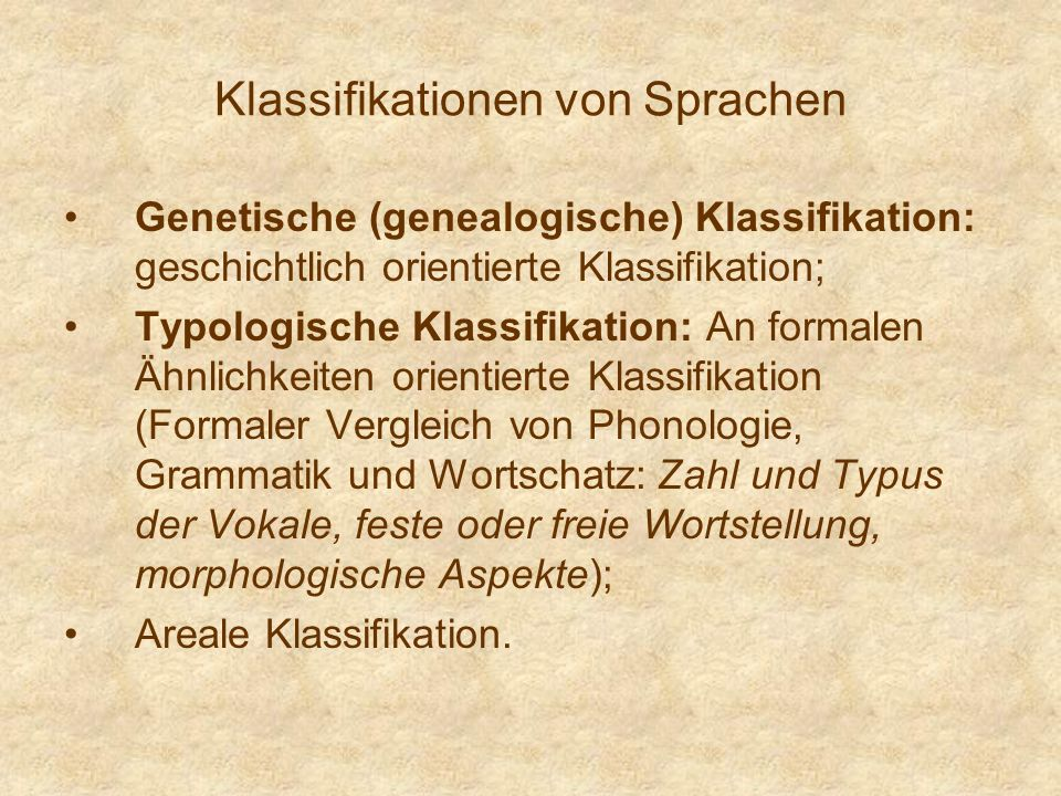Klassifikationen von Sprachen