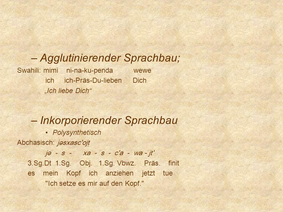 Agglutinierender Sprachbau;
