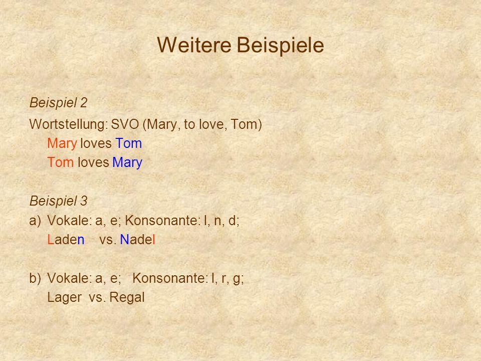 Weitere Beispiele Beispiel 2 Wortstellung: SVO (Mary, to love, Tom)