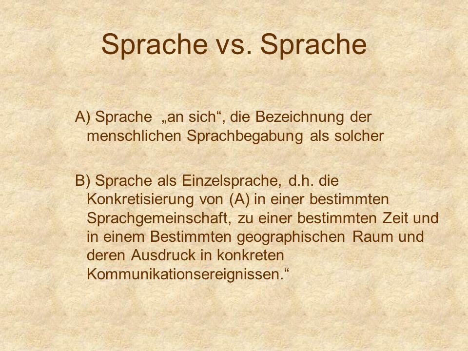 """Sprache vs. Sprache A) Sprache """"an sich , die Bezeichnung der menschlichen Sprachbegabung als solcher."""