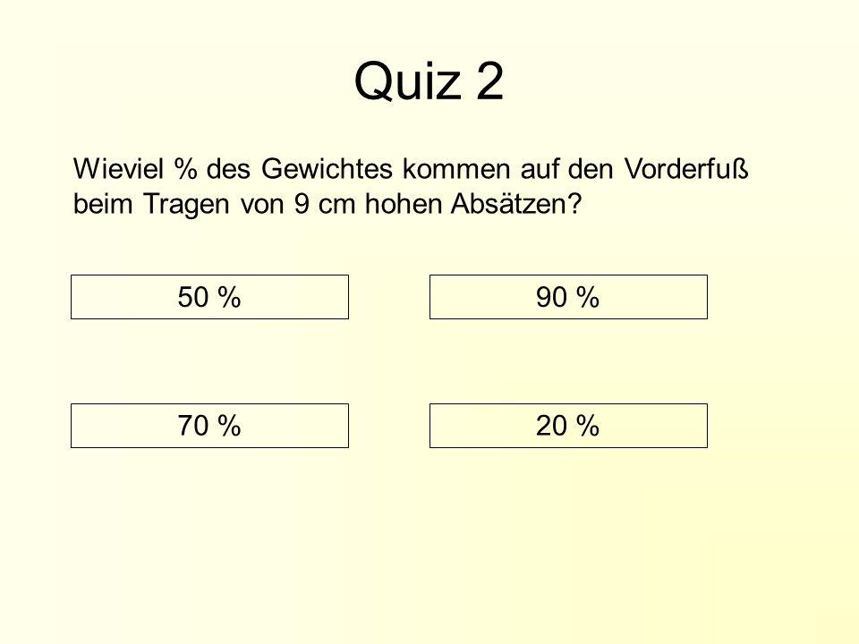 Quiz 2 Wieviel % des Gewichtes kommen auf den Vorderfuß beim Tragen von 9 cm hohen Absätzen 50 % 90 %