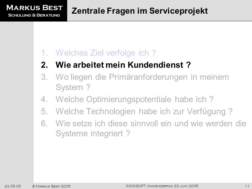 Zentrale Fragen im Serviceprojekt