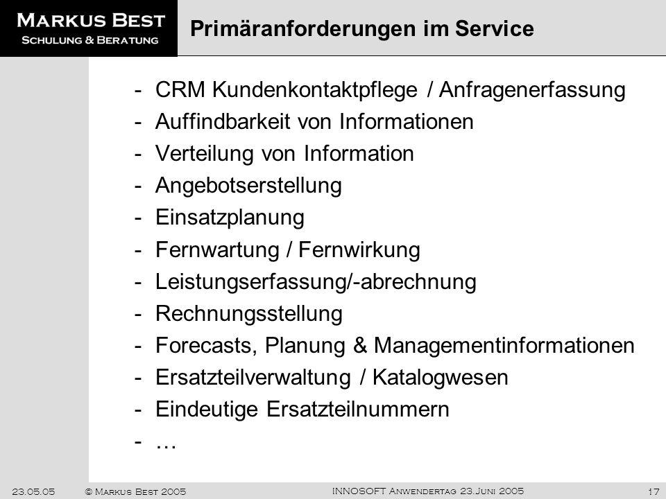 Primäranforderungen im Service