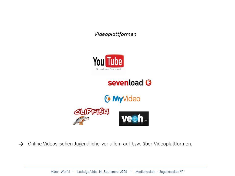 Videoplattformen  Online-Videos sehen Jugendliche vor allem auf bzw. über Videoplattformen.