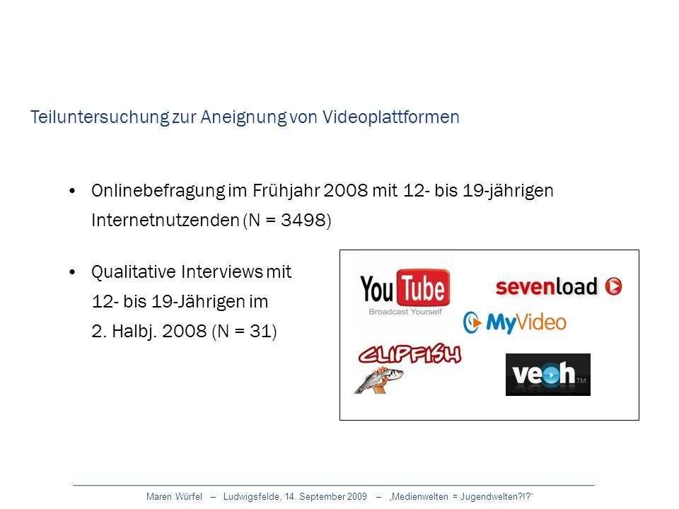 Teiluntersuchung zur Aneignung von Videoplattformen