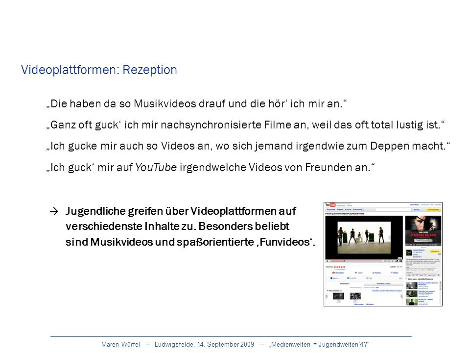 Videoplattformen: Rezeption