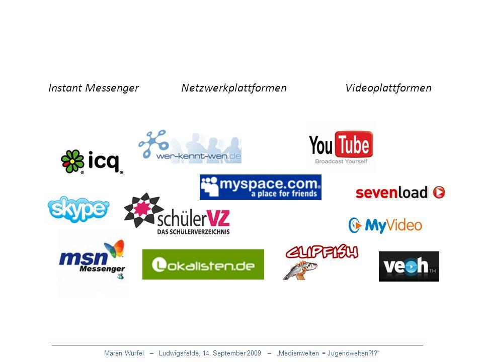 Instant Messenger Netzwerkplattformen Videoplattformen