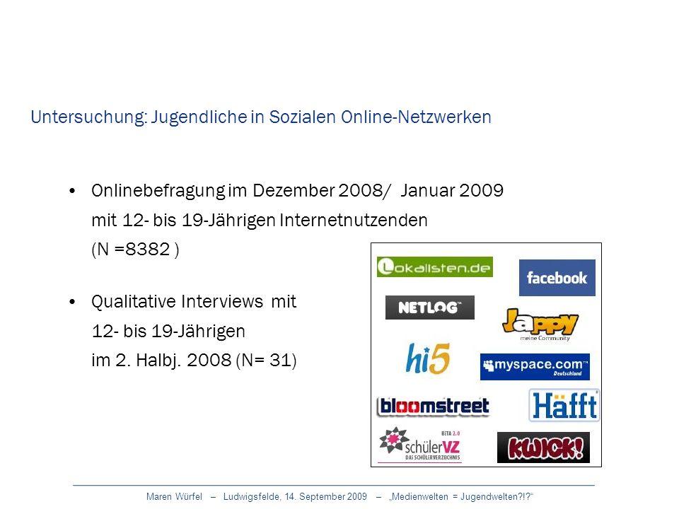 Untersuchung: Jugendliche in Sozialen Online-Netzwerken