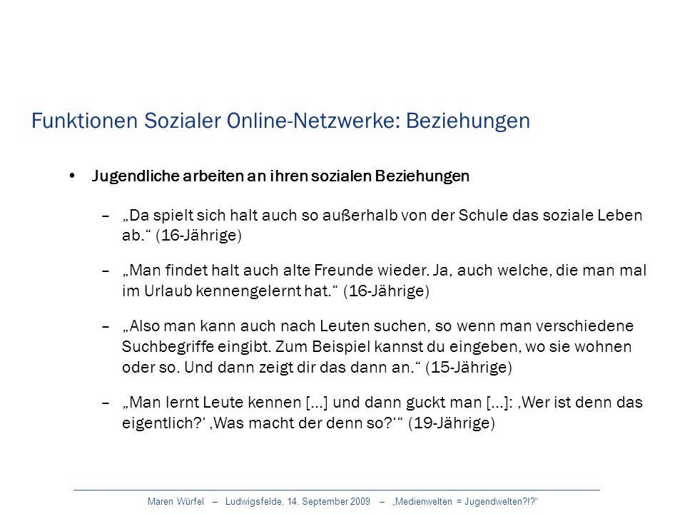 Funktionen Sozialer Online-Netzwerke: Beziehungen