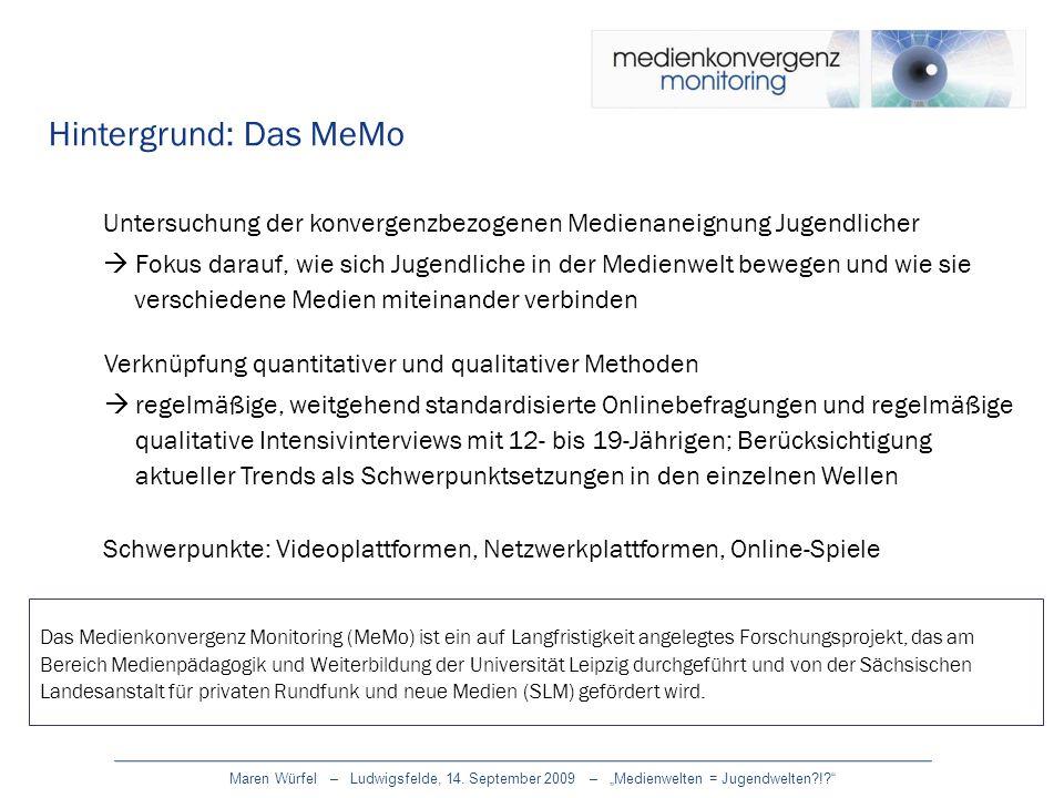 Hintergrund: Das MeMoUntersuchung der konvergenzbezogenen Medienaneignung Jugendlicher.