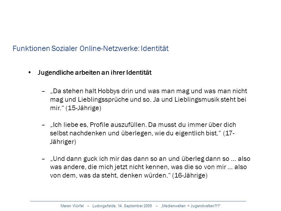 Funktionen Sozialer Online-Netzwerke: Identität
