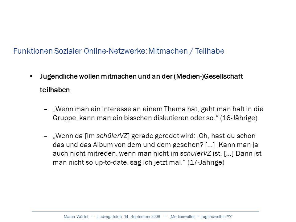 Funktionen Sozialer Online-Netzwerke: Mitmachen / Teilhabe