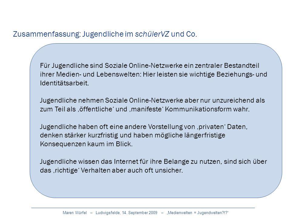 Zusammenfassung: Jugendliche im schülerVZ und Co.