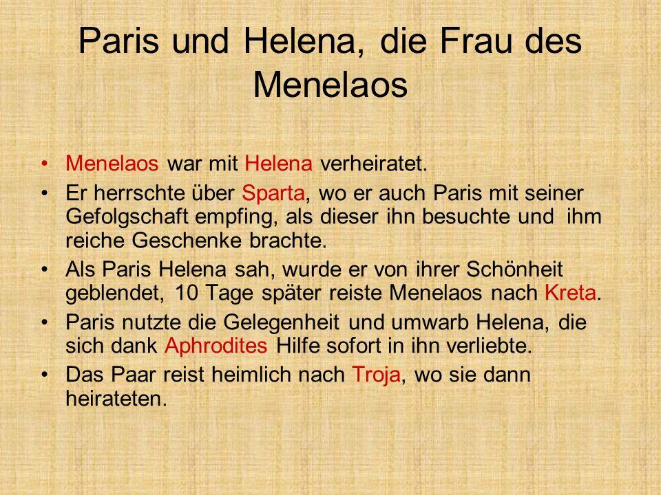 Paris und Helena, die Frau des Menelaos