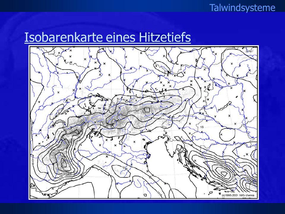 Isobarenkarte eines Hitzetiefs