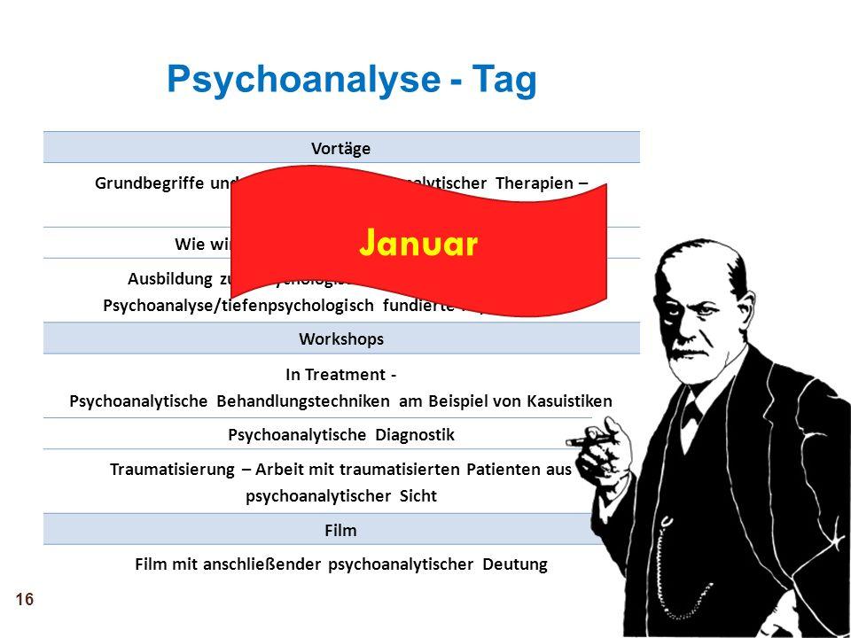 Januar Psychoanalyse - Tag Vortäge