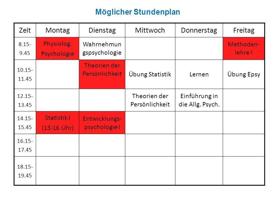 Möglicher Stundenplan