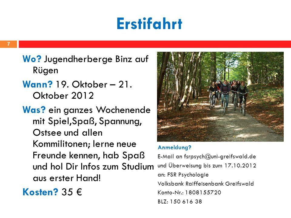 Erstifahrt Kosten 35 € Wo Jugendherberge Binz auf Rügen