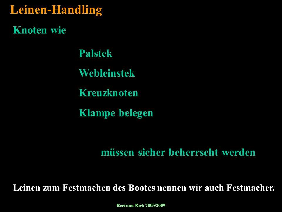 Leinen-Handling Knoten wie Palstek Webleinstek Kreuzknoten