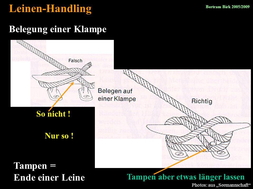 Leinen-Handling Belegung einer Klampe Tampen = Ende einer Leine