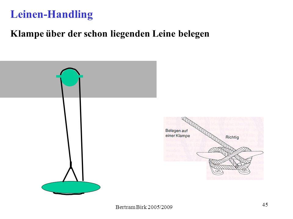 Leinen-Handling Klampe über der schon liegenden Leine belegen